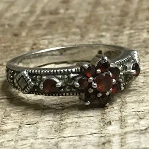 Judith Jack Sterling Silver Ring w/ Red Stones